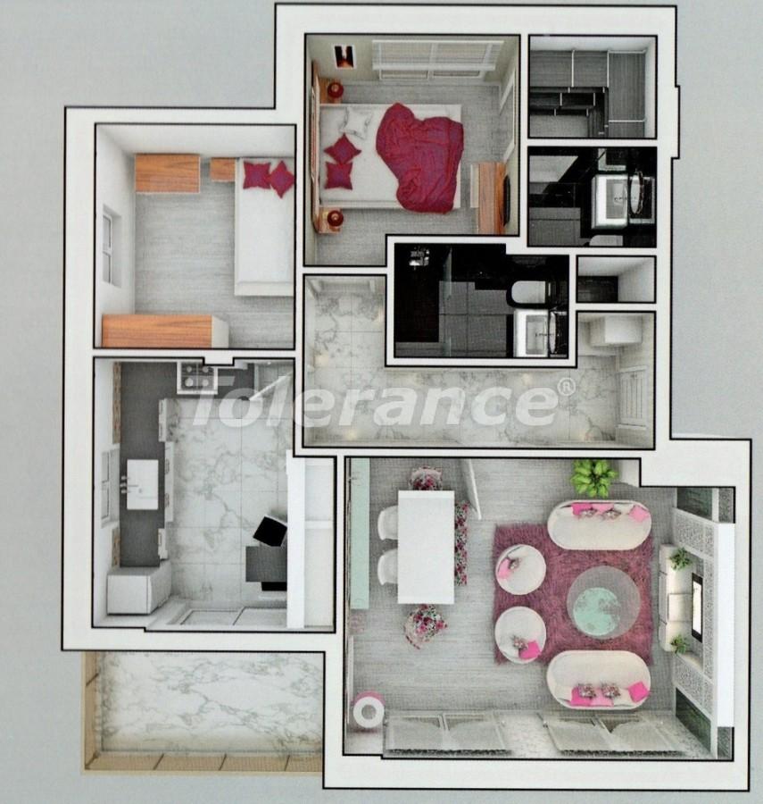 Апартаменты в Ларе, Анталия  в комплексе с бассейном - 8158 | Tolerance Homes