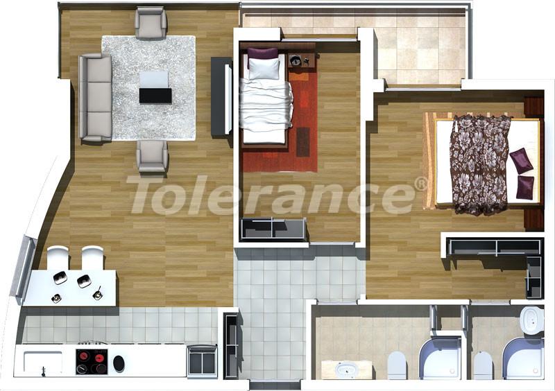 Трехкомнатные апартаменты люкс класса в Лимане, Коньяалты в 500 метрах от моря - 464   Tolerance Homes