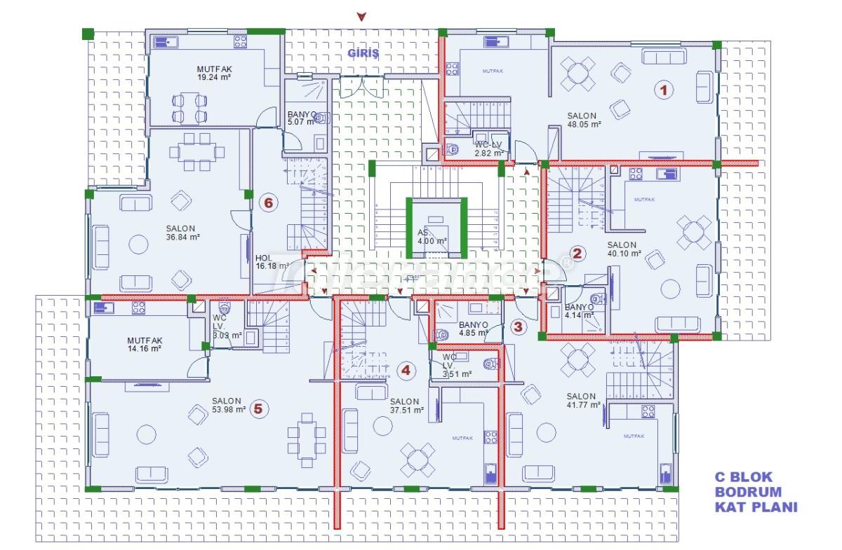 Апартаменты в Оба, Алания с закрытым бассейном - 9079   Tolerance Homes