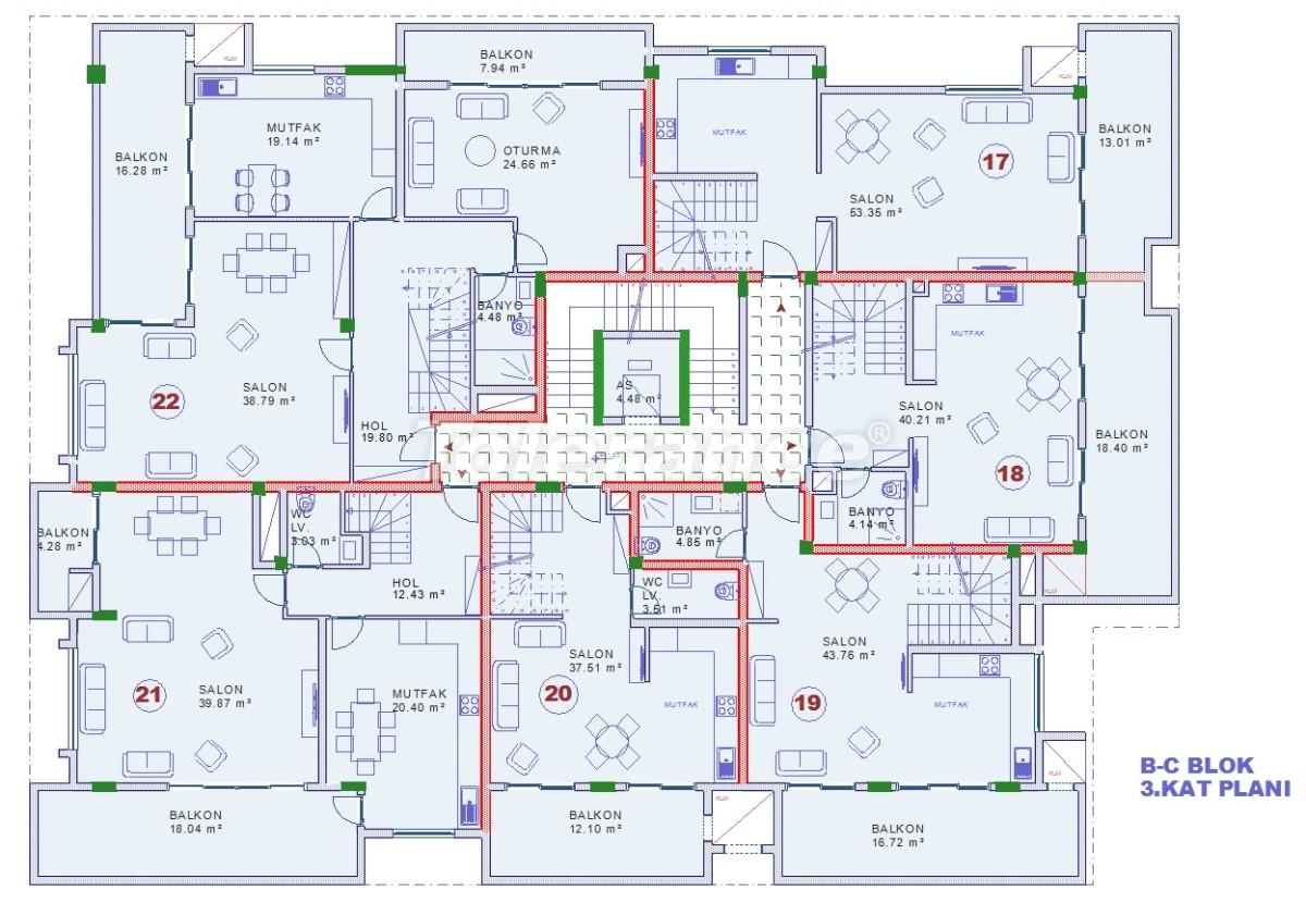 Апартаменты в Оба, Алания с закрытым бассейном - 9076   Tolerance Homes