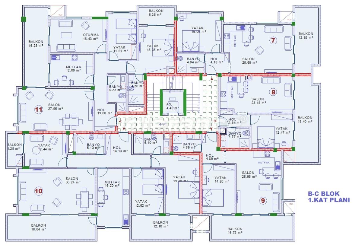 Апартаменты в Оба, Алания с закрытым бассейном - 9075   Tolerance Homes