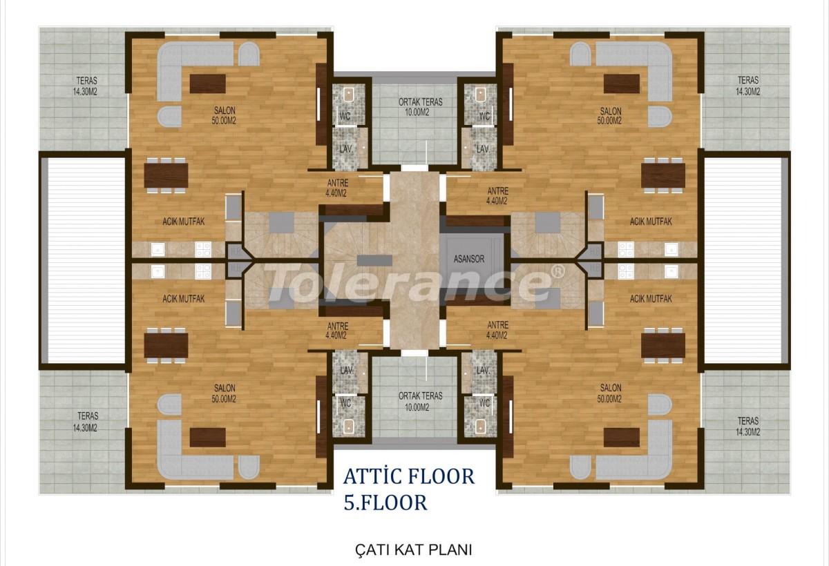 Четырехкомнатные квартиры в  Хурме, Коньяалты в комплексе с бассейном - 10507 | Tolerance Homes