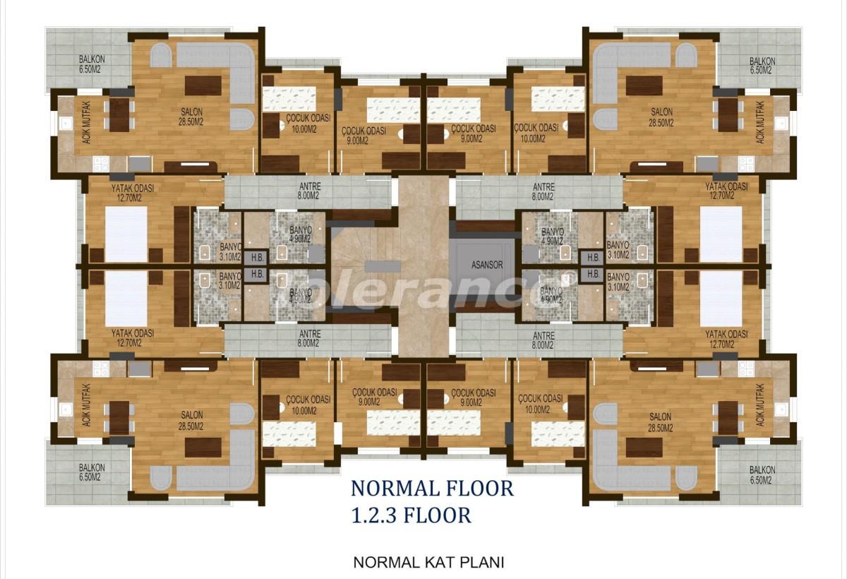 Четырехкомнатные квартиры в  Хурме, Коньяалты в комплексе с бассейном - 10506 | Tolerance Homes