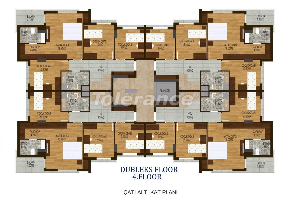 Четырехкомнатные квартиры в  Хурме, Коньяалты в комплексе с бассейном - 10508 | Tolerance Homes