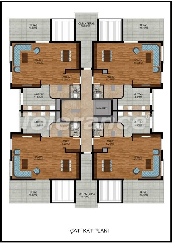 Современная трехкомнатная квартира в Хурме, Коньяалты в комплексе с бассейном - 10676 | Tolerance Homes