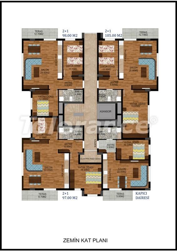 Современная трехкомнатная квартира в Хурме, Коньяалты в комплексе с бассейном - 10673 | Tolerance Homes