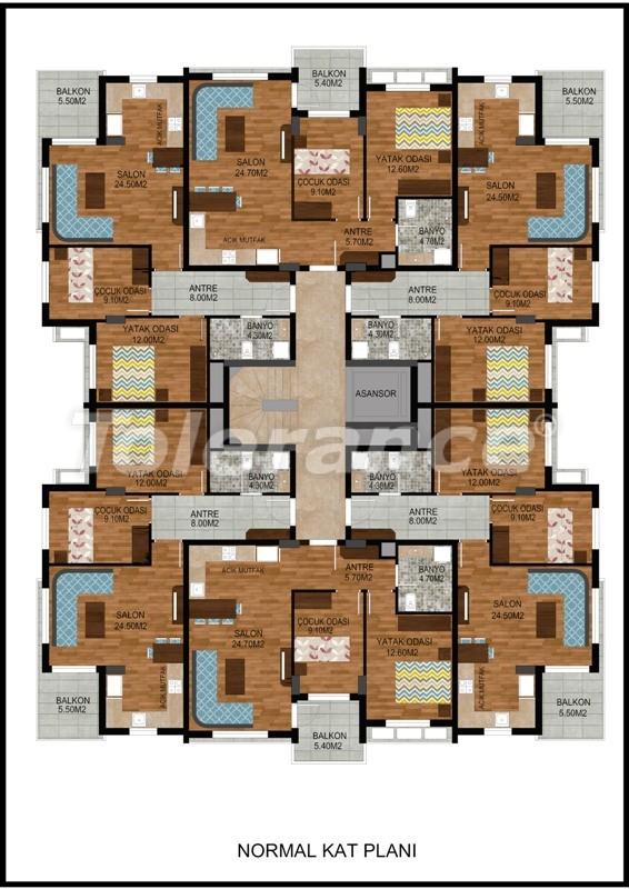 Современная трехкомнатная квартира в Хурме, Коньяалты в комплексе с бассейном - 10674 | Tolerance Homes