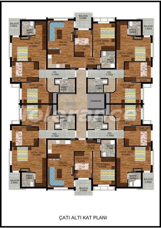 Современная трехкомнатная квартира в Хурме, Коньяалты в комплексе с бассейном - 10675 | Tolerance Homes