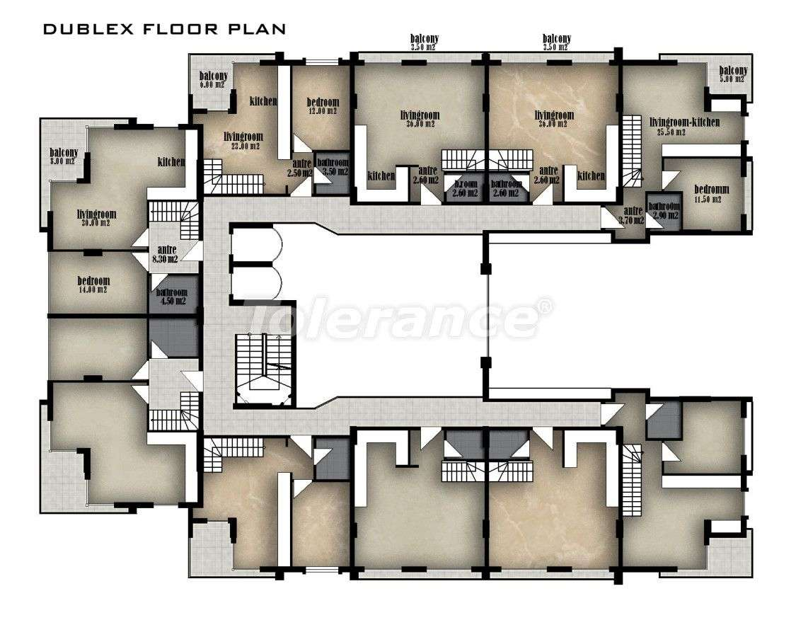 Вторичная трехкомнатная квартира в Хурме, Коньяалты в комплексе с открытым и закрытым бассейнами - 150   Tolerance Homes