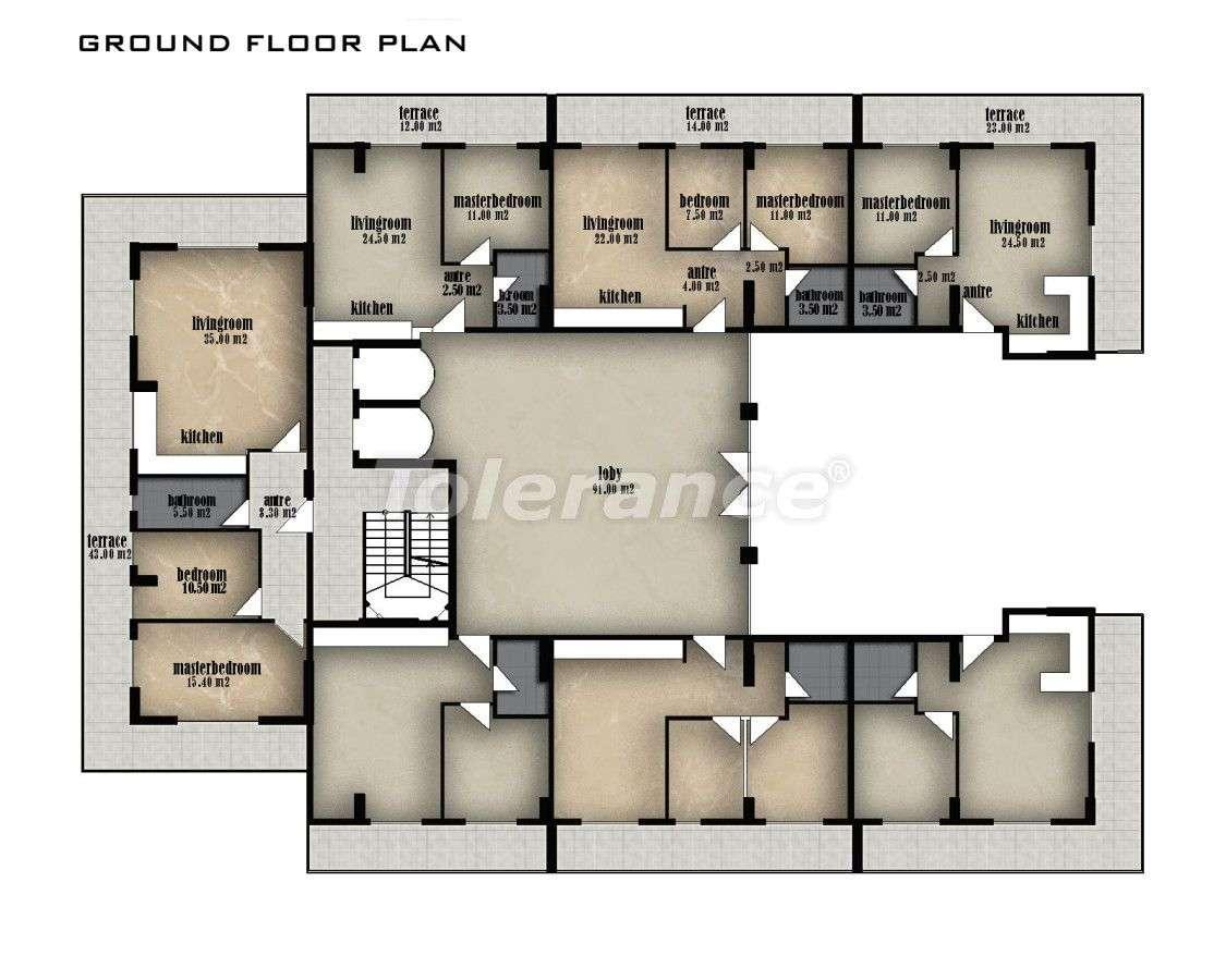 Вторичная трехкомнатная квартира в Хурме, Коньяалты в комплексе с открытым и закрытым бассейнами - 152   Tolerance Homes