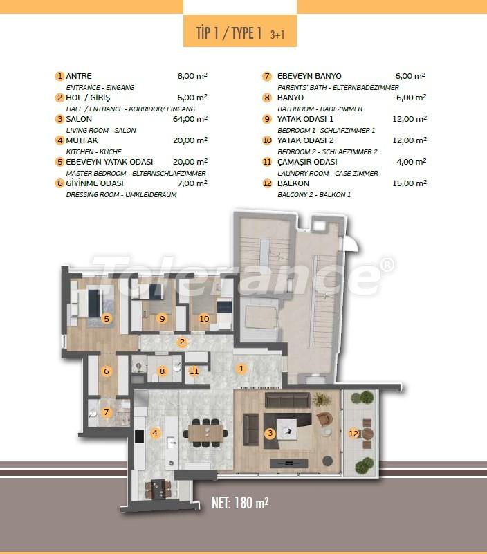 Эксклюзивные апартаменты в Лимане, Коньяалты с 3-мя и 4-мя спальнями с прямым видом на море - 17451 | Tolerance Homes