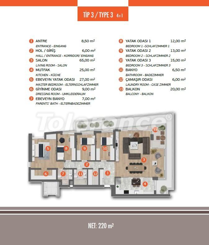 Эксклюзивные апартаменты в Лимане, Коньяалты с 3-мя и 4-мя спальнями с прямым видом на море - 17453 | Tolerance Homes