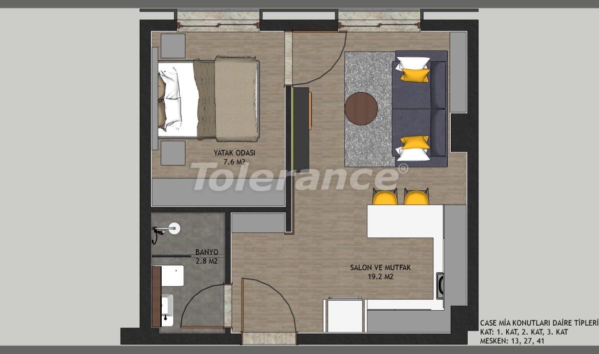 Недорогие квартиры в Кепезе, Анталия в комплексе с бассейном - 11647 | Tolerance Homes