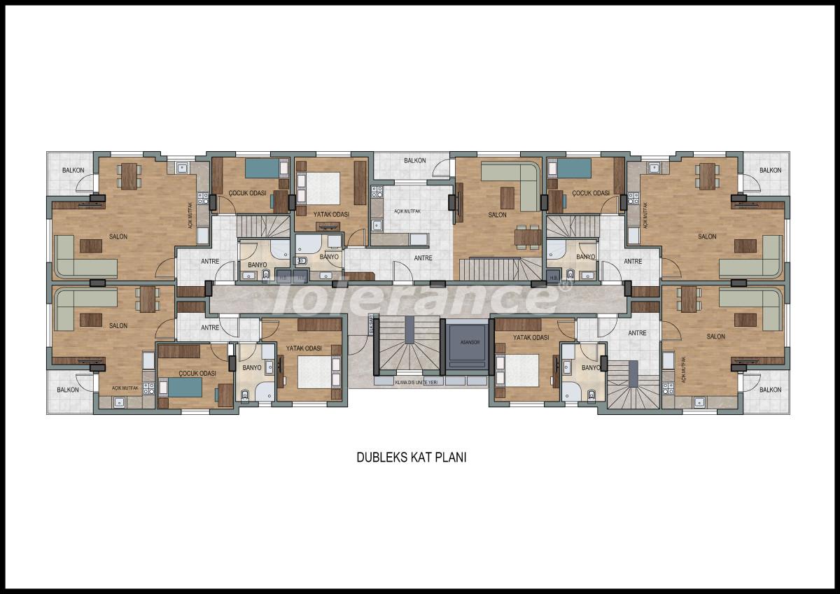 Апартаменты в Лимане, Коньяалты с фитнес центром и сауной от застройщика - 11869 | Tolerance Homes
