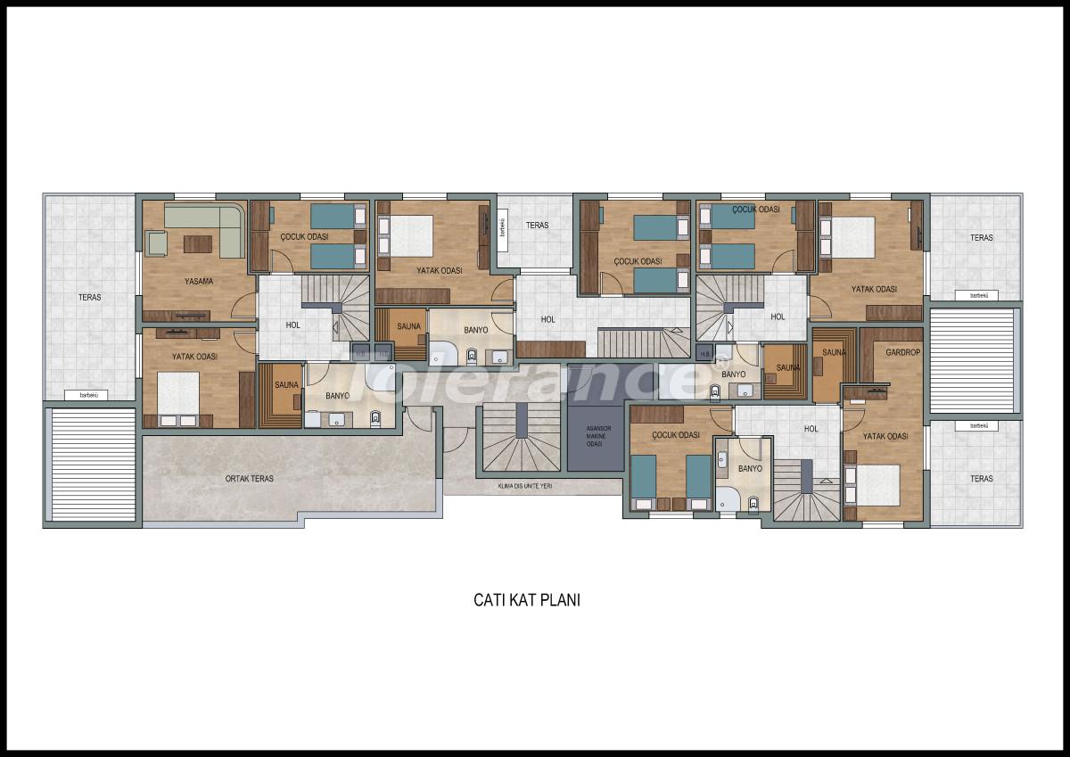 Апартаменты в Лимане, Коньяалты с фитнес центром и сауной от застройщика - 11870 | Tolerance Homes