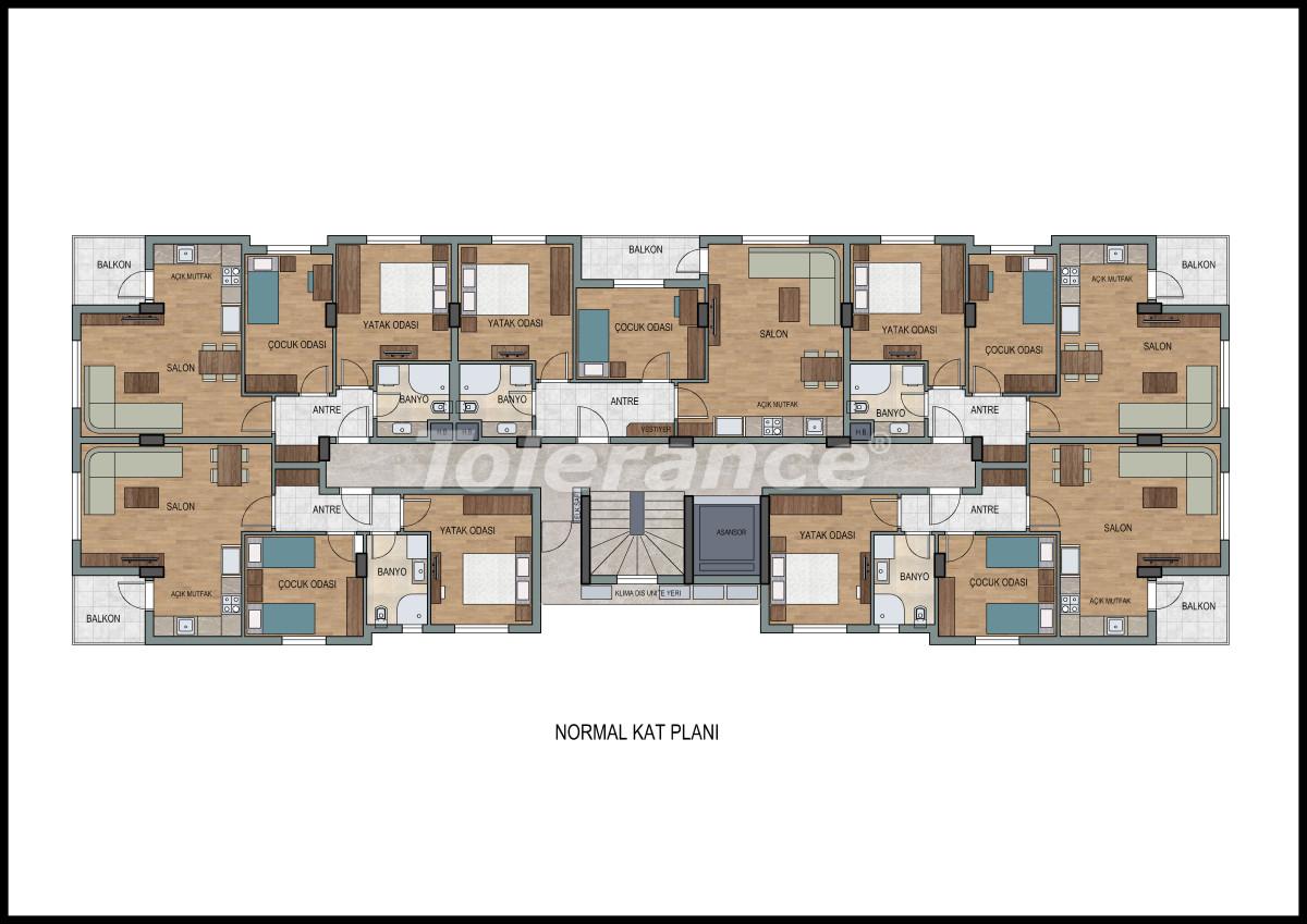 Апартаменты в Лимане, Коньяалты с фитнес центром и сауной от застройщика - 11868 | Tolerance Homes