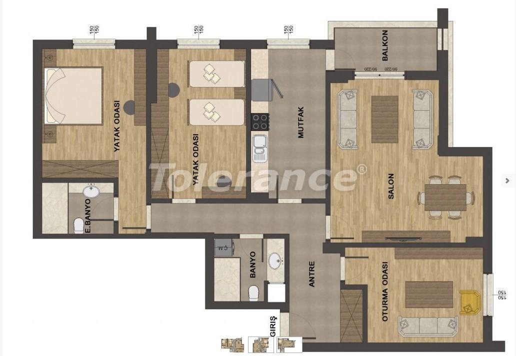 Роскошные апартаменты в Унджалы, Коньяалты с бассейном - 13657   Tolerance Homes