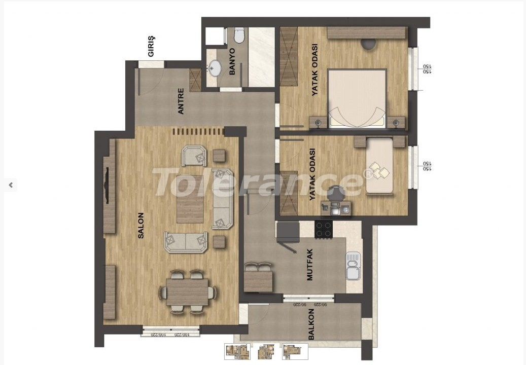 Роскошные апартаменты в Унджалы, Коньяалты с бассейном - 13656   Tolerance Homes
