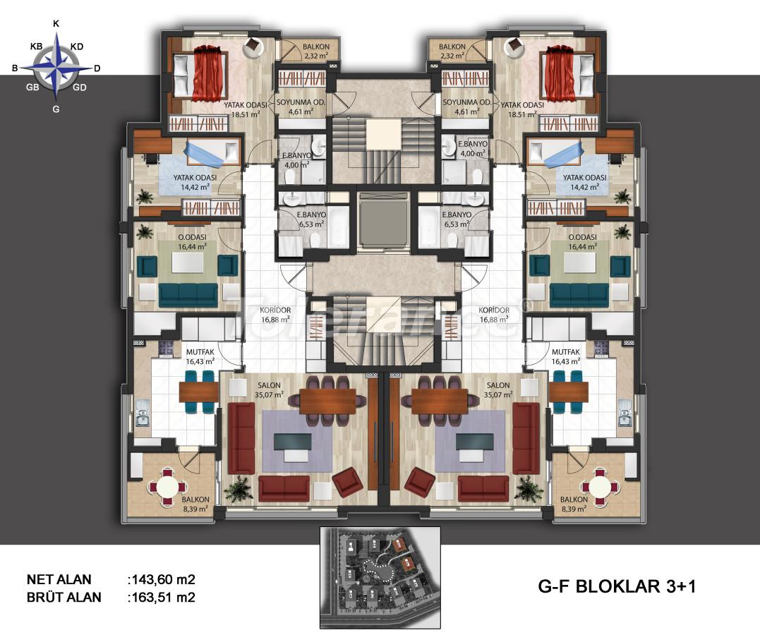 Просторные квартиры в Кепезе, Анталия в современном комплексе  с бассейном - 14010 | Tolerance Homes