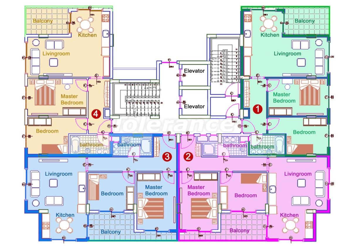 Комфортабельные апартаменты в Махмутларе, Алания рядом с морем - 14714 | Tolerance Homes