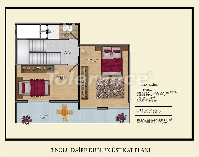 Недорогие квартиры в Махмутлар, Алания  всего в 450 метрах от пляжа - 14921 | Tolerance Homes