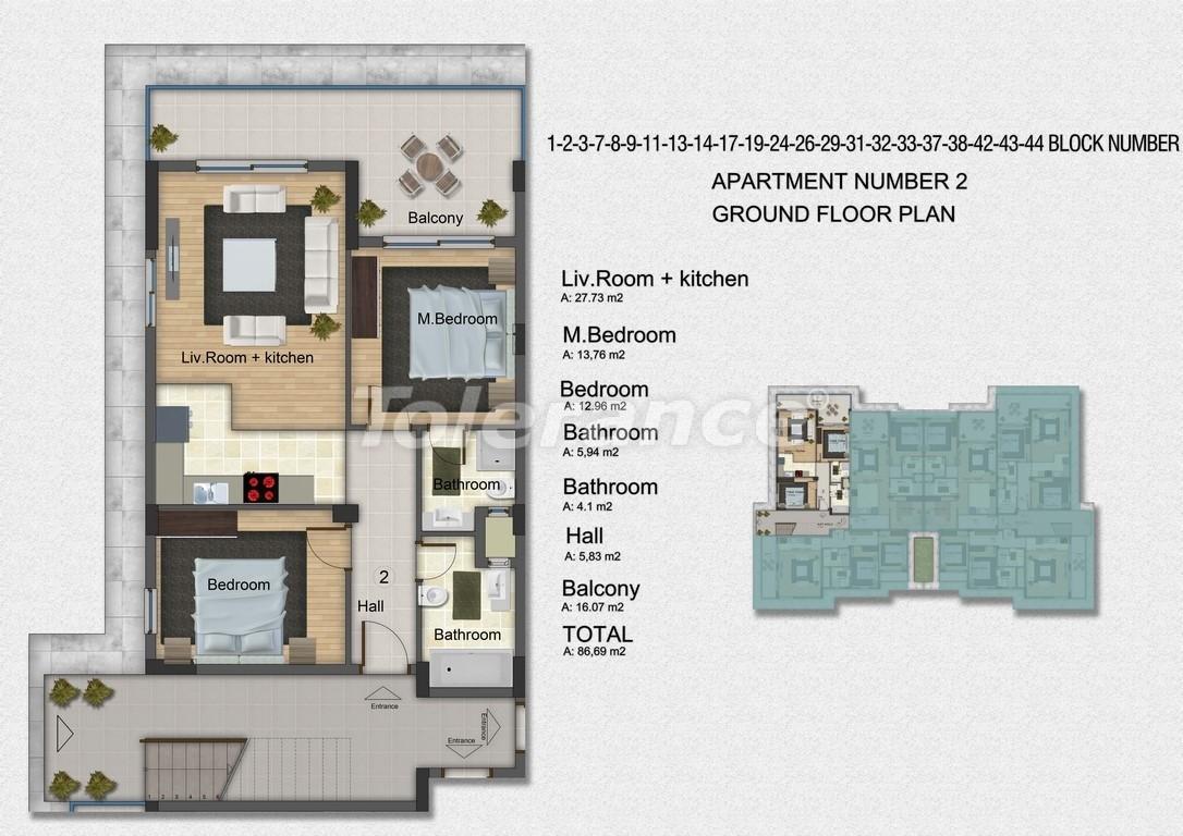 Квартиры с 2-мя и 3-мя спальнями в Дидиме, уникальный проект на берегу моря в сосновом лесу - 15757   Tolerance Homes