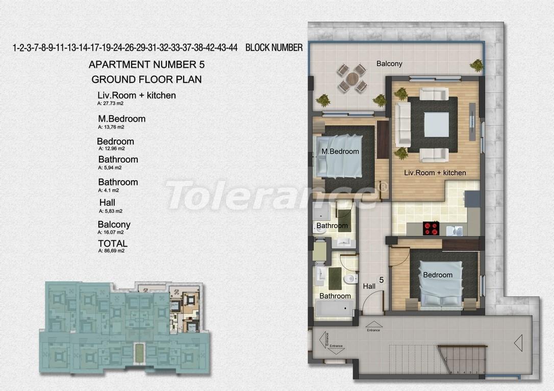 Квартиры с 2-мя и 3-мя спальнями в Дидиме, уникальный проект на берегу моря в сосновом лесу - 15751   Tolerance Homes