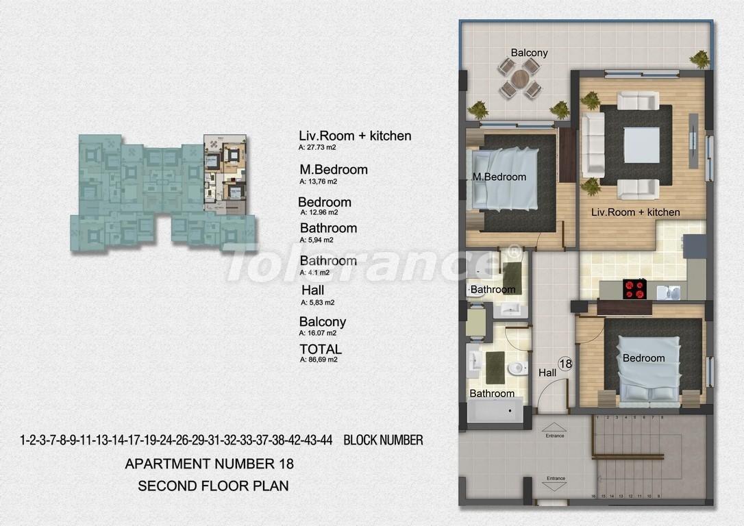 Квартиры с 2-мя и 3-мя спальнями в Дидиме, уникальный проект на берегу моря в сосновом лесу - 15753   Tolerance Homes