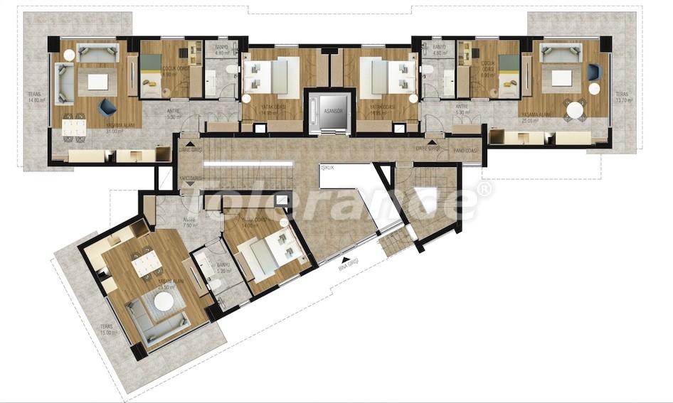 Современные апартаменты в Унджалы, Коньяалты с бассейном от надежного застройщика с рассрочкой - 16211 | Tolerance Homes