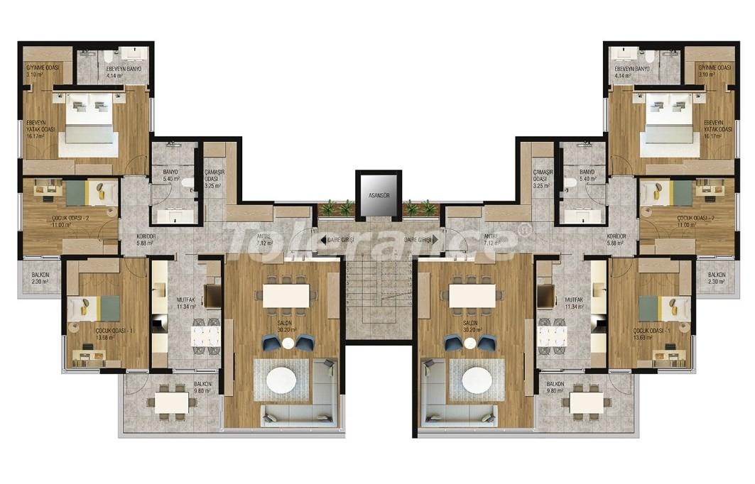 Современные квартиры в Ларе, Анталия от надежного застройщика - 16213 | Tolerance Homes