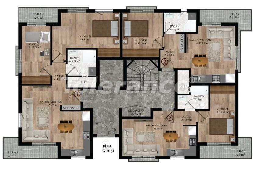 Квартиры в Хурме, Коньяалты от надежного застройщика  в комплексе с бассейном - 16686 | Tolerance Homes