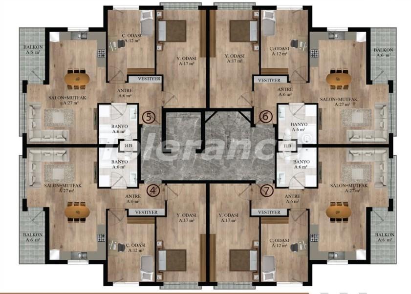 Квартиры в Хурме, Коньяалты от надежного застройщика  в комплексе с бассейном - 16687 | Tolerance Homes