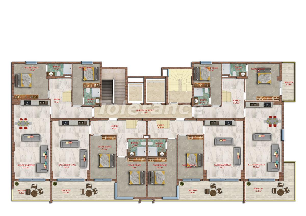 Современные апартаменты в Махмутларе от надежного застройщика с рассрочкой - 17846 | Tolerance Homes