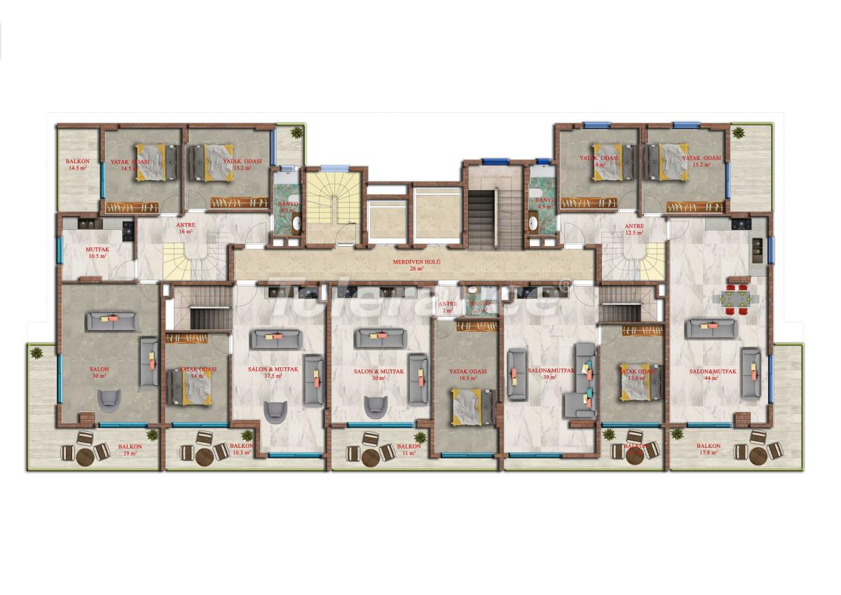 Современные апартаменты в Махмутларе от надежного застройщика с рассрочкой - 17845 | Tolerance Homes