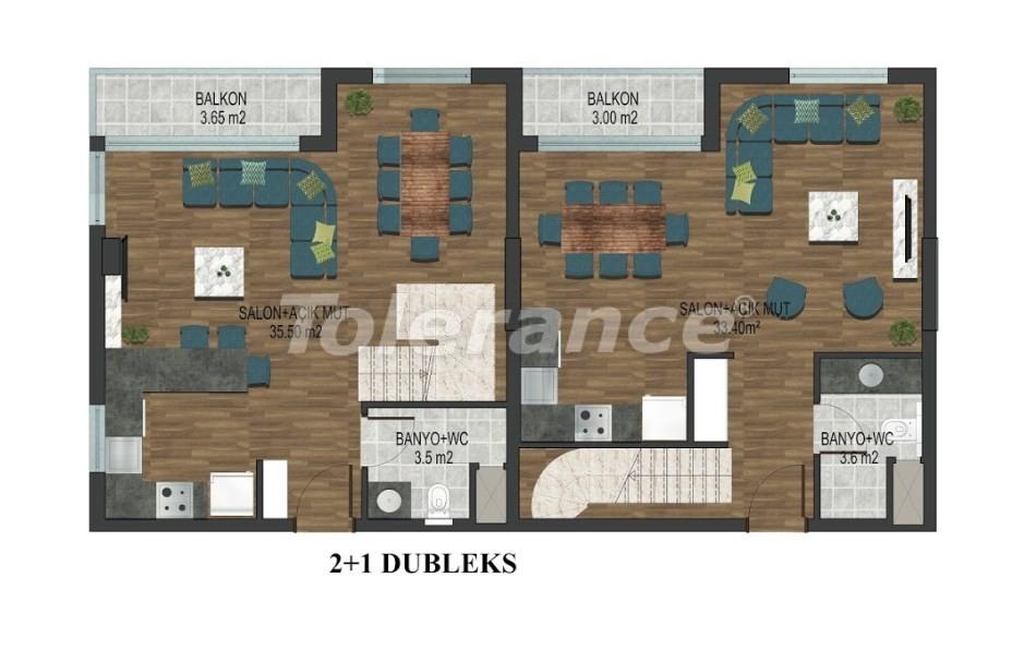 Квартиры в Хурме, Коньяалты в комплексе с открытым и закрытым бассейнами от застройщика - 18292 | Tolerance Homes