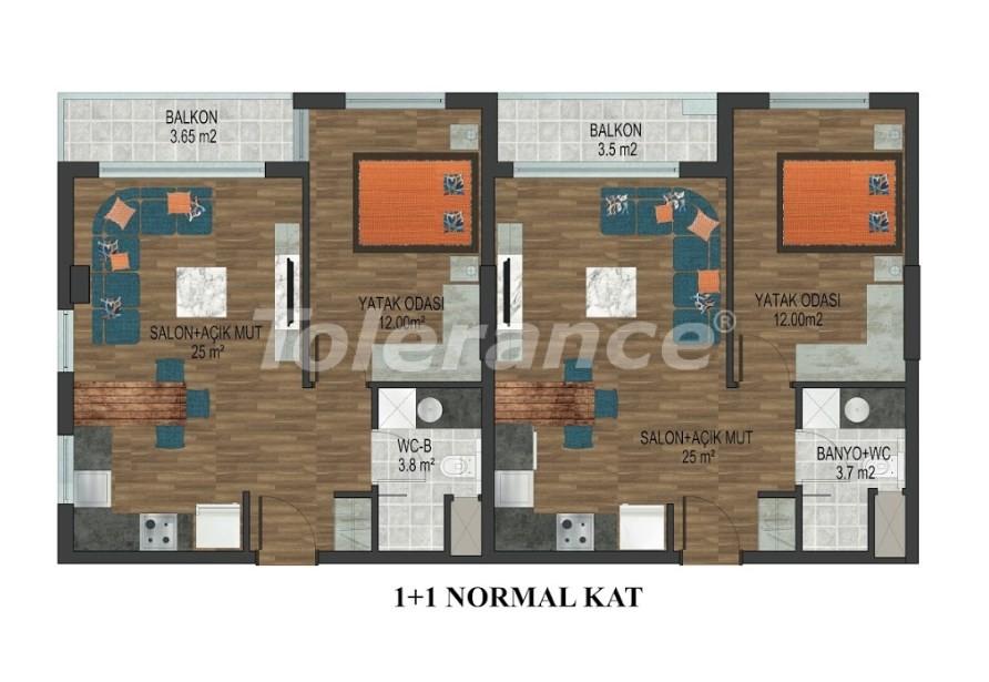 Квартиры в Хурме, Коньяалты в комплексе с открытым и закрытым бассейнами от застройщика - 18289 | Tolerance Homes