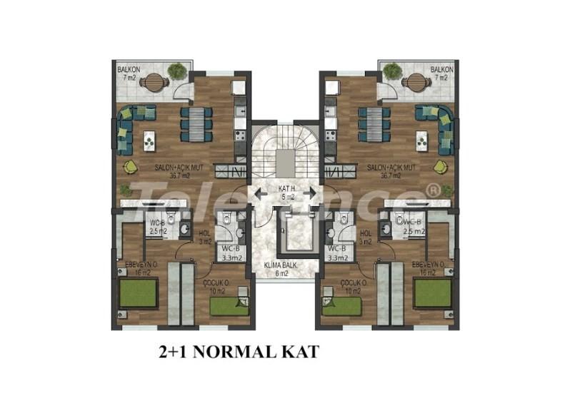 Квартиры в Хурме, Коньяалты в комплексе с открытым и закрытым бассейнами от застройщика - 18293 | Tolerance Homes