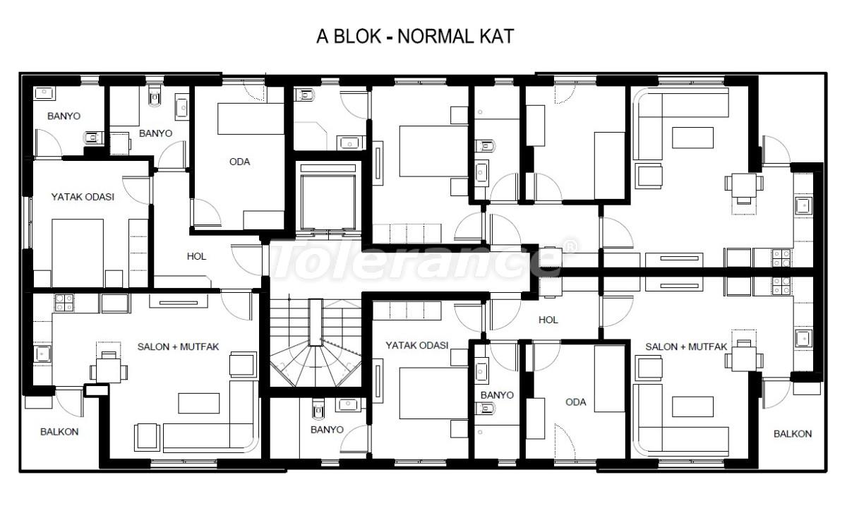 Элитные квартиры в Хурме, Коньяалты в комплексе с бассейном - 19381   Tolerance Homes