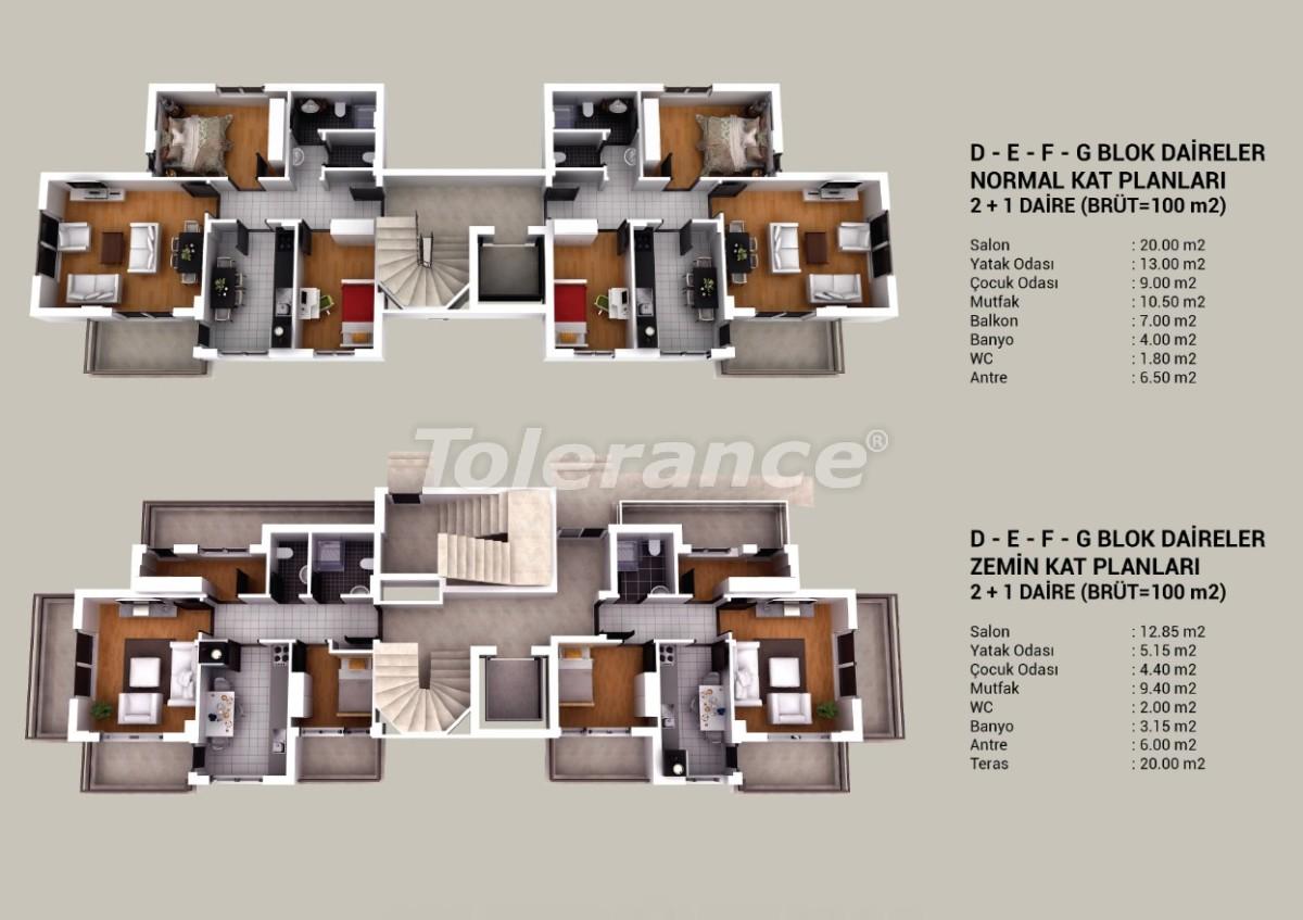 Современные квартиры в Кепезе, Анталия в комплексе с бассейном и аквапарком - 20812 | Tolerance Homes