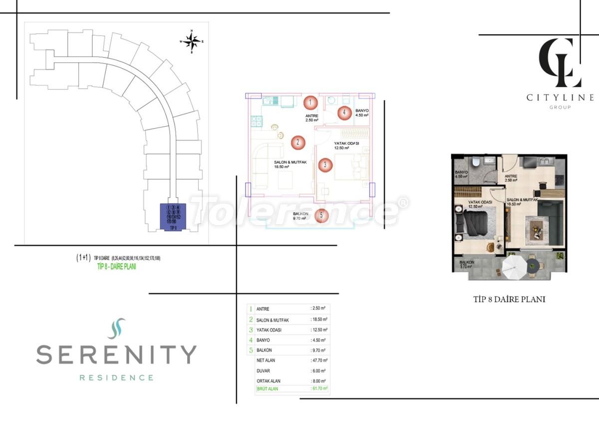 Роскошные апартаменты в комплексе с открытым бассейном, крытым бассейном, сауной и фитнес-центром - 21424 | Tolerance Homes