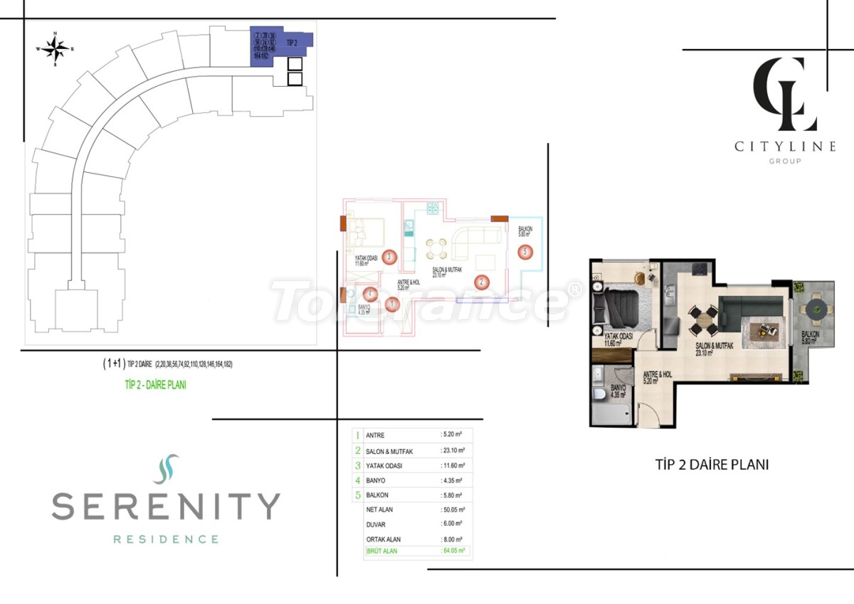 Роскошные апартаменты в комплексе с открытым бассейном, крытым бассейном, сауной и фитнес-центром - 21398 | Tolerance Homes