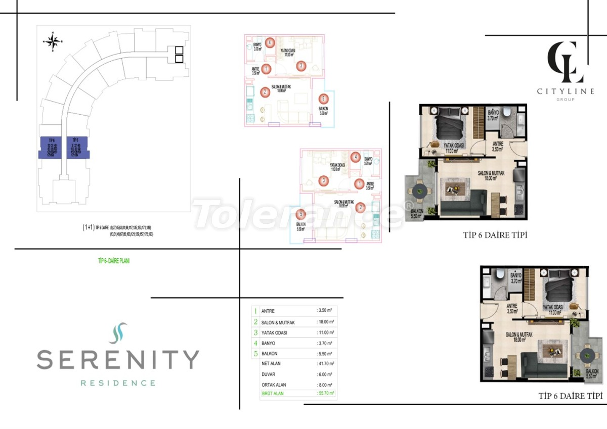 Роскошные апартаменты в комплексе с открытым бассейном, крытым бассейном, сауной и фитнес-центром - 21414 | Tolerance Homes