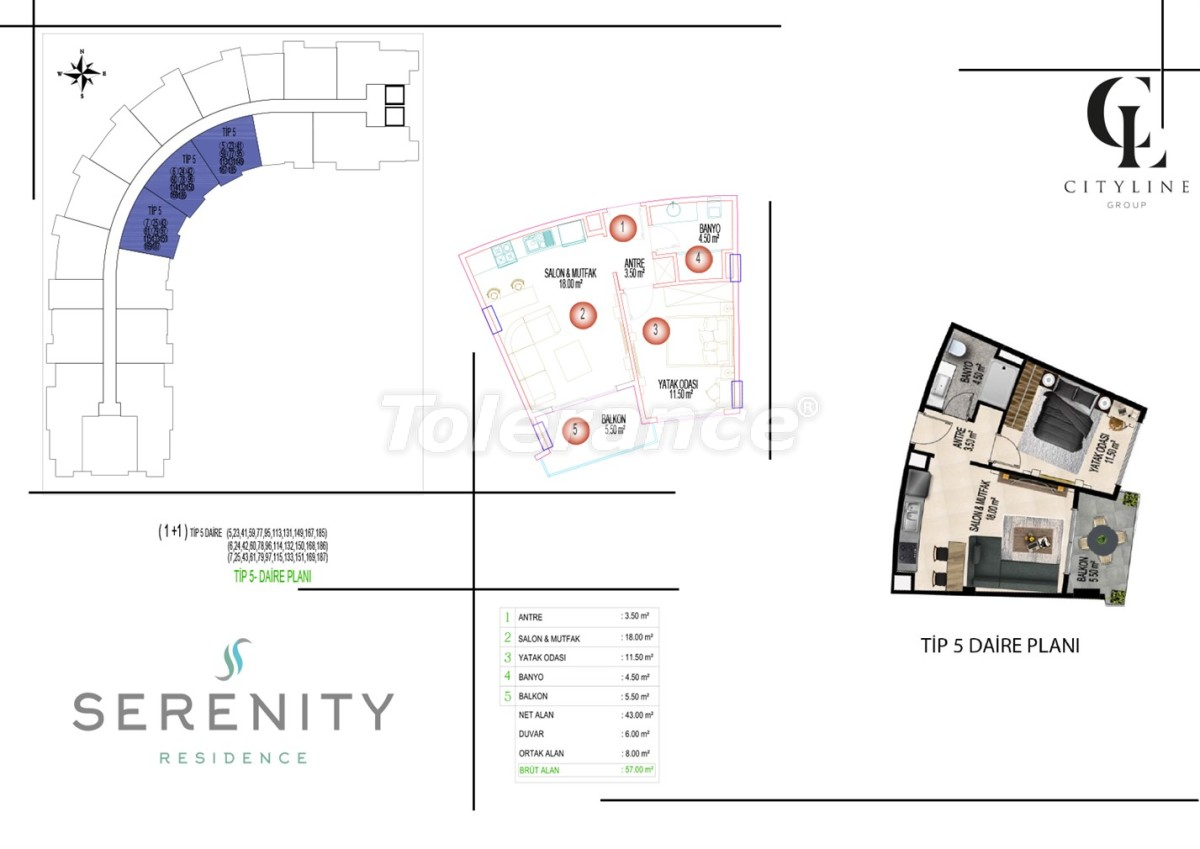 Роскошные апартаменты в комплексе с открытым бассейном, крытым бассейном, сауной и фитнес-центром - 21409 | Tolerance Homes