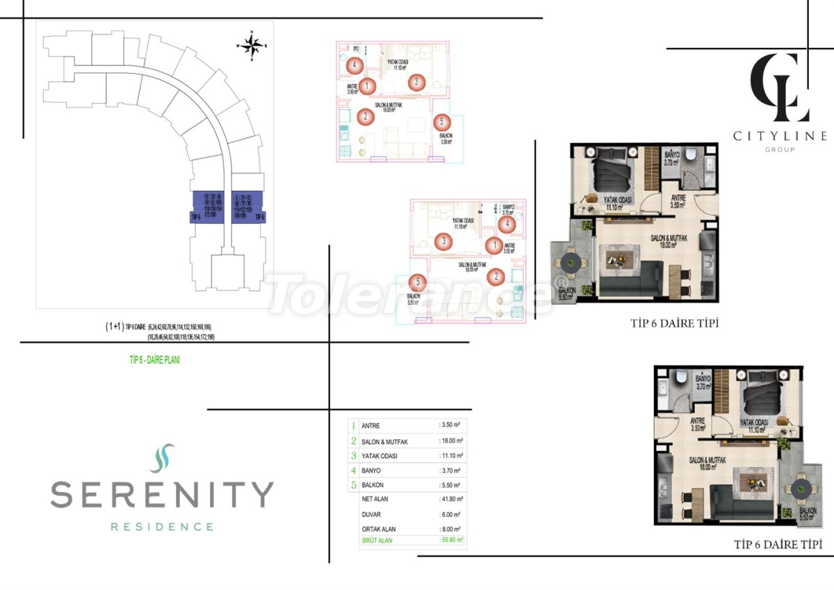 Роскошные апартаменты в комплексе с открытым бассейном, крытым бассейном, сауной и фитнес-центром - 21416 | Tolerance Homes