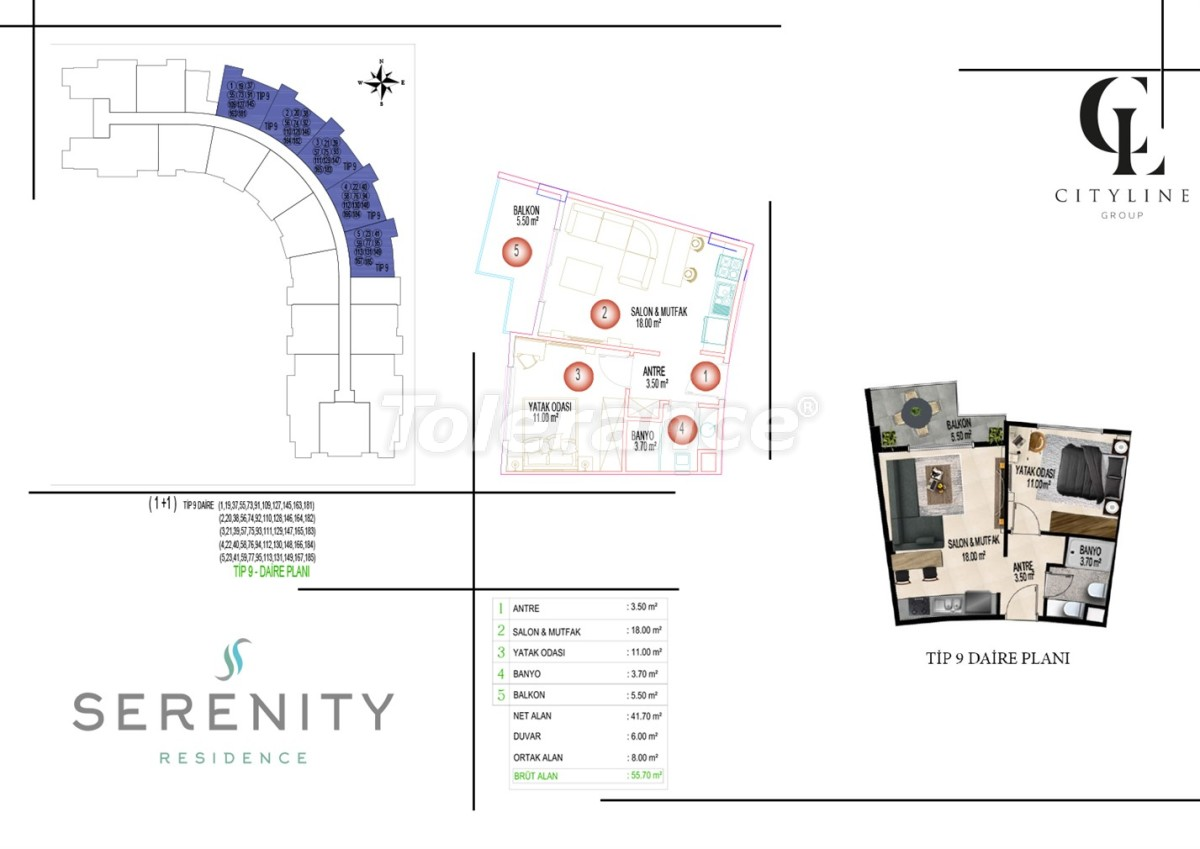 Роскошные апартаменты в комплексе с открытым бассейном, крытым бассейном, сауной и фитнес-центром - 21427   Tolerance Homes