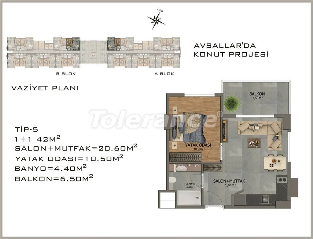 Современные апартаменты в Авсалларе - 22080 | Tolerance Homes