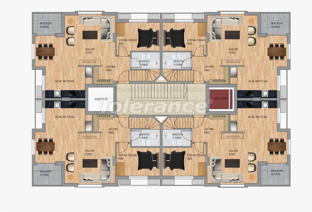 Современные квартиры в Хурме, Коньяалты от застройщика с возможностью рассрочки до 3 месяцев - 22292 | Tolerance Homes