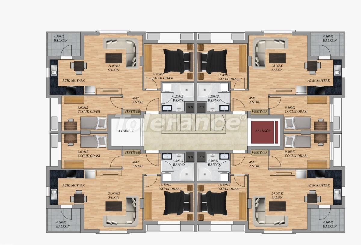 Современные квартиры в Хурме, Коньяалты от застройщика с возможностью рассрочки до 3 месяцев - 22293 | Tolerance Homes