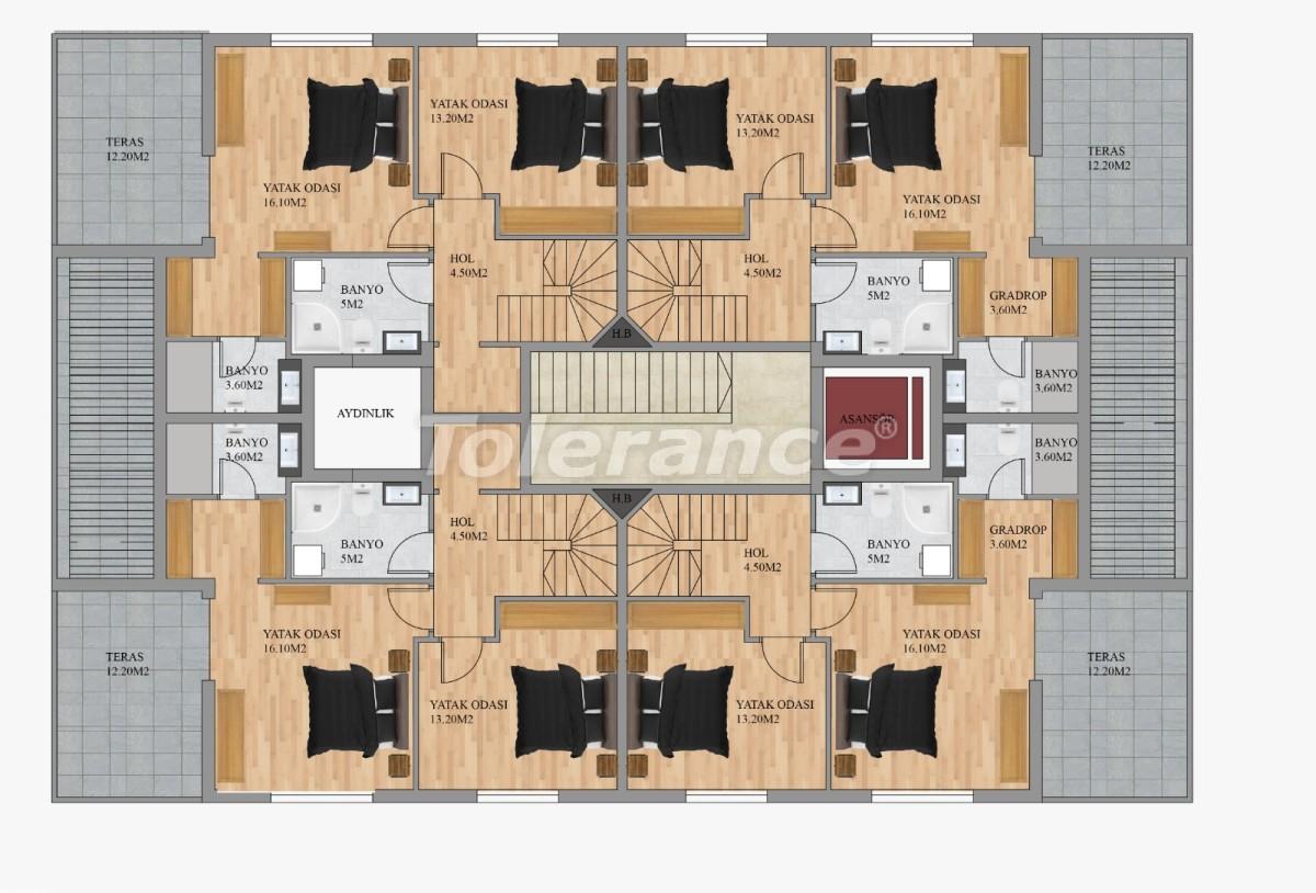 Современные квартиры в Хурме, Коньяалты от застройщика с возможностью рассрочки до 3 месяцев - 22291 | Tolerance Homes