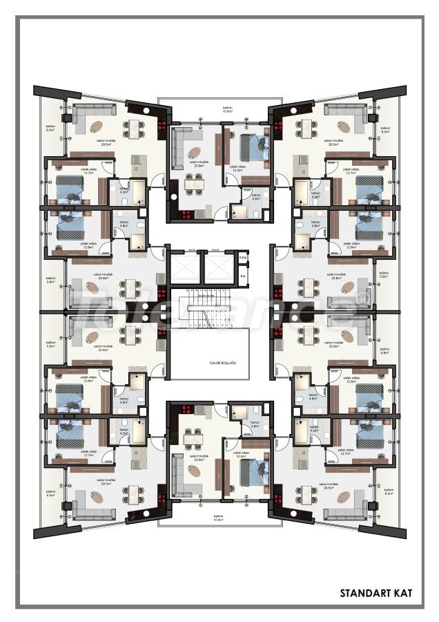 Современные апартаменты в центре Алании от застройщика с возможностью рассрочки до 6 месяцев - 22605 | Tolerance Homes